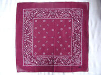 NEW mens/womens Burgandy Paisley pattern bandana., headband, bun wrap etc. 100% cotton. Can post. £2