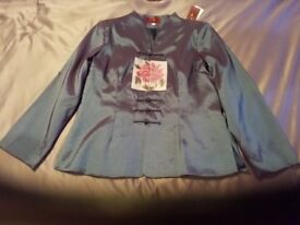 New Pure Silk Blue Chinese tailored jacket size 14/16