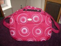 Marks & Spencer Pinky Red Flower Design Flight Bag, BRAND NEW LABEL ATTACHED