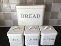 Cream vintage style bread bin and canister set