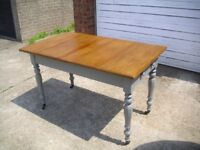 Kitchen Table with Reclaimed Pine Top 4ft 2 Drawers Turned Legs Dining Shabby Chic