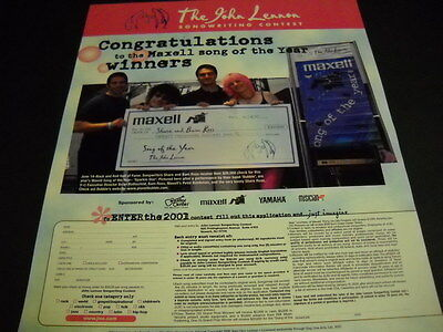 JOHN LENNON contest 2001 Promo Display Ad BAM ROSS and SHARE ROSS are winners