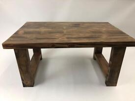 Rustic handcrafted reclaimed chunky solid wooden coffee table