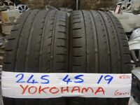 MATCHING PAIR 245 45 19 YOKOHAMAS 6mm tread £90 PAIR SUP & fittd 7dys opn sunday 4pm