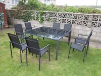 For Sale: 150cm/6 foot square Black Glass Patio Table - Only the table