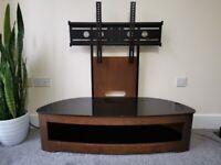 TV Stand Jual Cantilever Modern Glass Top - Walnut