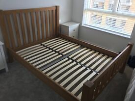Solid Oak King Size Bed in excellent condition