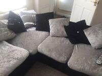 Corner sofa-crushed velvet - only used 6 months