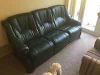 Leather sofa recliner set