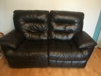 Leather Reclining 3 and 2 seater sofas