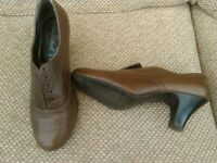 brown brouge style heeled shoes lace up.from new look only worn 2 times.too high for me.