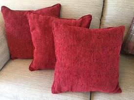 Set of 3 red cushions from Next - exc condition