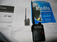 icom ic-r5 scanner -ham radio compact air sea services military scanner -free delivery look