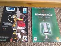 Liverpool Football Programmes LFC memorabilia Can Post FA cup and League cup Worthington