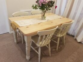 5ft Pine Farmhouse Table & Chairs Farrow & Ball Kitchen Dining Table