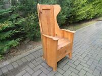 Heavy Solid Pine Wing-Back Chair