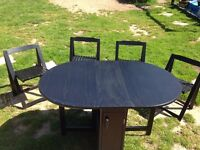 Black butterfly table and chairs - collect Eccles on Sea