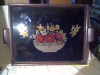 UNUSUAL TRAY , GLASS OVER A FLORAL PICTURE In COLOURED FOIL ?on A WOODEN BASE + HANDLES