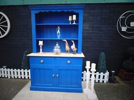 ABSOLUTELY STUNNING SOLID PINE FARMHOUSE WELSH DRESSER PAINTED IN A BEAUTIFUL NAVY BLUE