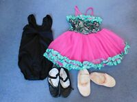 Dancing shoes and leotards aged approximately 3 - 5 years