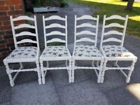 Dining chairs x 4. Oak white distressed palm tree. Rustic shabby chic farmhouse. LOCAL DELIVERY