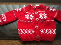 Baby hand knitted cardigan Christmas Design