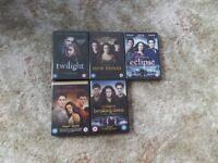 Twilight film DVDs - all five films plus bonus material