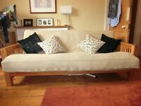 Fantastic solid oak frame 3 seater sofa bed by Futon company, excellent condition