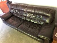 3 Seater Brown Leather Couch / Sofa