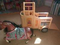 Barbie size horse with jeep and horse trailer with horse sounds