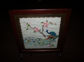 Wooden Firescreen converts to small table has glass top to insert picture