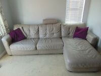Grey leather corner Sofa for sale, 5 years old, great condition, sofa bed with under storage