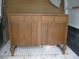 VINTAGE 1940'S STURDY OAK SIDEBOARD. ORNATE FASCIA. VIEWING/DELIVERY AVAILABLE