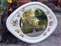 Vintage Ceramic Framed Oval Wall Mirror With Floral Decoration