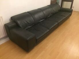 REDUCED 4 Seater contemporary black leather sofa, Chair and Pouffe