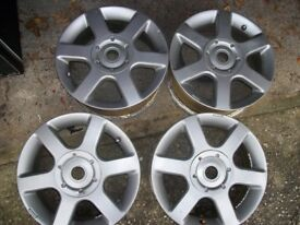 Wolfrace Alloy Wheels x4 15inch Silver Ford Fiesta Focus Others PCD 4x108 4 x 108 with Centre Caps