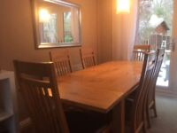 Dining table and 6 chairs - solid oak