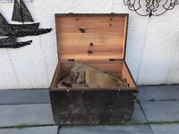 Very old wooden pine chest