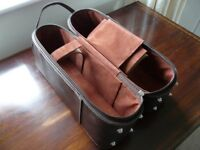 Brown Faux leather two wine bottle carrier with shoulder strap unused
