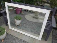 Large Shabby Chic Wooden Framed Bevelled Glass Mirror