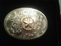 Montana silver smith belt buckle, collar tips + c d box set country and western