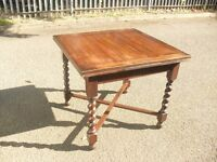 Super Antique Solid Oak Jacobean Style Barley Twist Extending Drawleaf Table Dining