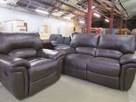 2+1 Brown Leather Reclining Sofas