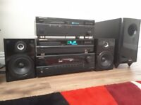 Hi-fi Separates, Onkyo A/V Reciever Marantz Cassette Deck and Marantz CD Deck.
