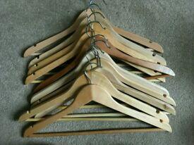 10 wooden hangers