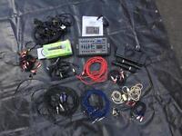 Disco leads, mics, junior controller , job lot.