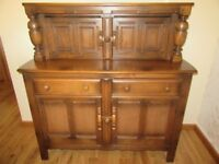 ERCOL OLD COLONIAL SIDEBOARD GOLDEN DAWN FINISH TOP CUPBOARD BOTTOM CUPBOARD WITH SHELF AND DRAWERS