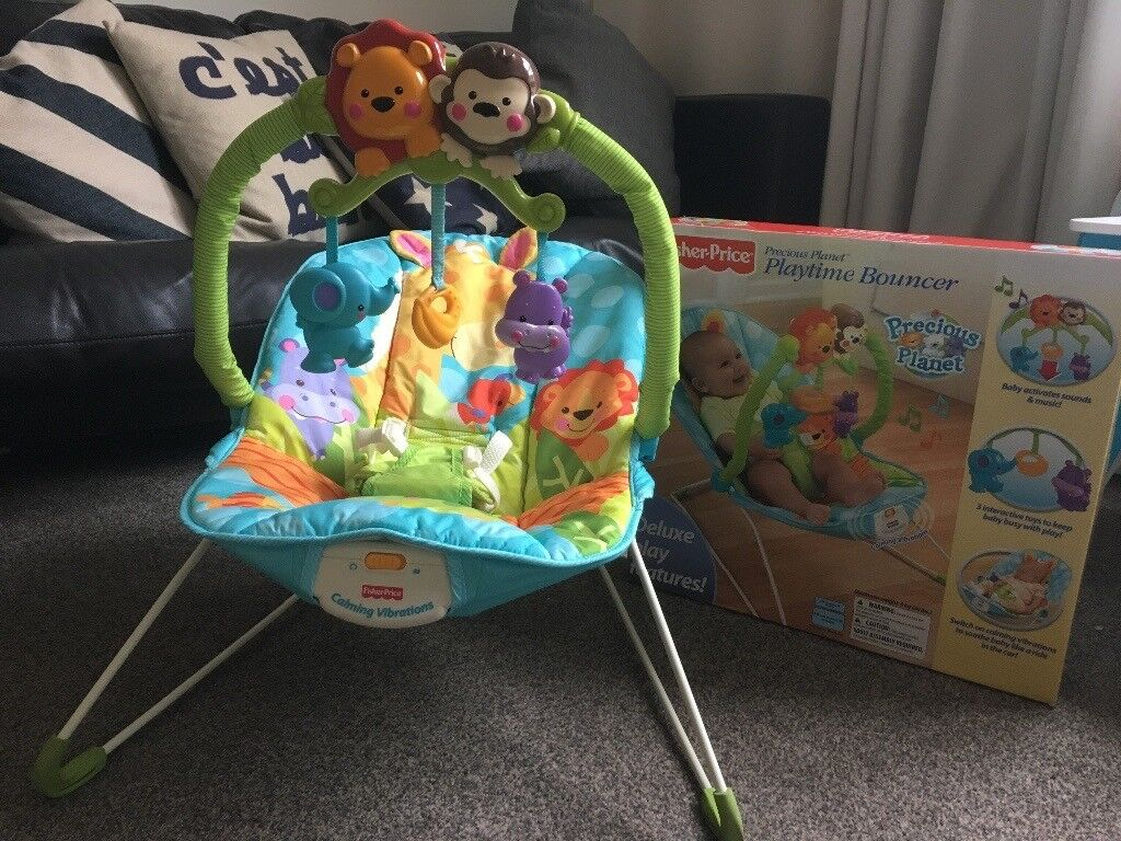 Fisher Price Rainforest Bay Bouncer with soothing vibration.