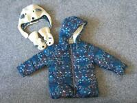 Next 1-2 years girls coat, hat and gloves/mitts set