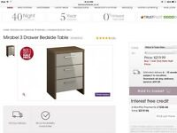 Bensons 2 x new mirabel bedside chest of drawers